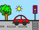 Disegno Auto da città pitturato su anna