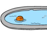 Disegno Palla in piscina pitturato su luca