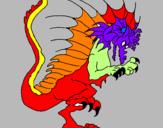 Disegno Drago dagli artigli minacciosi  pitturato su paoloalberto
