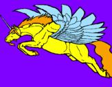 Disegno Unicorno alato  pitturato su Lucia