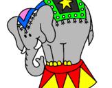 Disegno Elefante in scena  pitturato su A.Luca