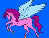 Disegno Pegaso che vola  pitturato su Lucia