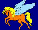 Disegno Pegaso che vola  pitturato su ELISA