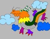 Disegno Drago cinese pitturato su Angelo