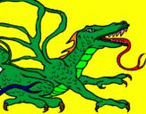Disegno Drago rettile  pitturato su stefano