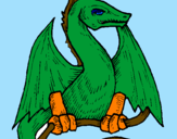 Disegno Drago   pitturato su stefano
