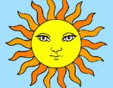 Disegno Sole  pitturato su celeste