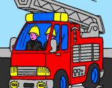 Disegno Camion dei Pompieri  pitturato su pompiere sam