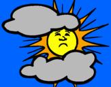 Disegno Sole con nuvole pitturato su silvia