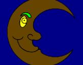 Disegno Luna  pitturato su massimo a.