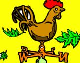 Disegno Banderuole e gallo  pitturato su martina
