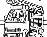 Disegno Camion dei Pompieri  pitturato su camion-pompieri