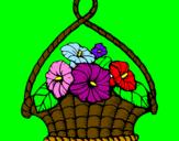 Disegno Paniere di fiori pitturato su mary bonfanti