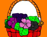 Disegno Paniere di fiori 6 pitturato su gretA