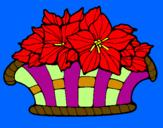 Disegno Paniere di fiori 8 pitturato su fiore e  sindi