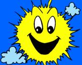Disegno Sole brillante  pitturato su Amelia