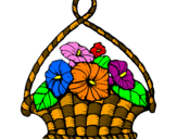 Disegno Paniere di fiori pitturato su lucia