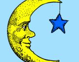 Disegno Luna e stelle  pitturato su Amelia