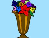 Disegno Vaso di fiori pitturato su silvia