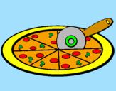 Disegno Pizza pitturato su daniel