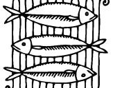 Disegno Pesce pitturato su susanna
