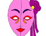 Disegno Maschera italiana  pitturato su ROSMERY