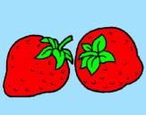 Disegno fragole  pitturato su susanna