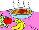 Disegno Frutta e chiocciole in casseruola pitturato su lucia