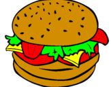 Disegno Hamburger completo  pitturato su nicolollo