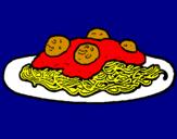 Disegno Spaghetti al ragù  pitturato su camilla  chielli