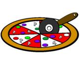 Disegno Pizza pitturato su chiara c.