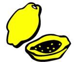 Disegno Papaya pitturato su nicolollo