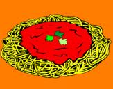Disegno Spaghetti al formaggio  pitturato su ALESSIA