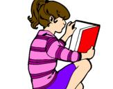 Disegno Bambina che legge  pitturato su Sara