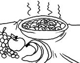 Disegno Frutta e chiocciole in casseruola pitturato su aln