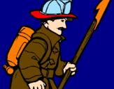 Disegno Pompiere  pitturato su mamma   ti   voglio bene