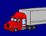 Disegno Camion trailer  pitturato su anita