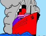 Disegno Nave a vapore pitturato su davide