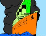 Disegno Nave a vapore pitturato su japo