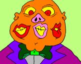Disegno Mostro con tre bocche  pitturato su maria