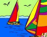 Disegno Vele in alto mare  pitturato su GIUSEPPE MIGLIORE