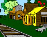Disegno Stazione ferroviaria  pitturato su nick