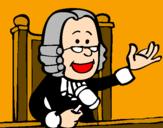 Disegno Giudice pitturato su gre-raff