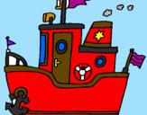 Disegno Barca con ancora  pitturato su CHIARA
