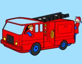 Disegno Pompieri sul camion  pitturato su GABRIELET,