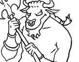 Disegno Minotauro  pitturato su cecilia