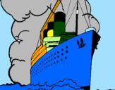 Disegno Nave a vapore pitturato su gianluca