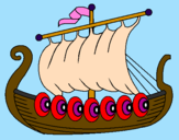 Disegno Barca vikinga  pitturato su edo