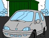 Disegno Auto in campagna  pitturato su japo