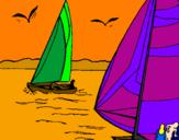 Disegno Vele in alto mare  pitturato su nick